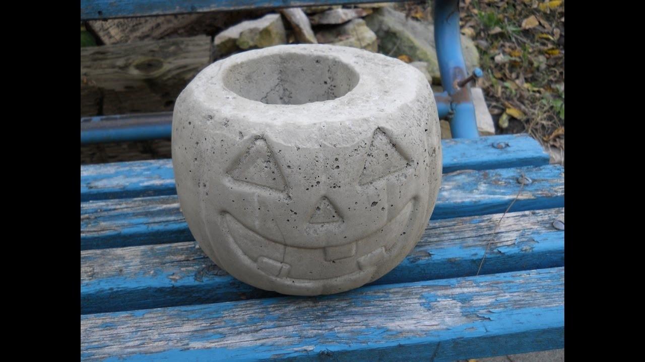 How To Make A Concrete Pumpkin Planter