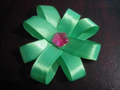 How to make  a ribbon flower bow.