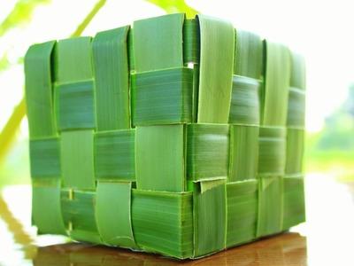 How to make BASKET using coconut tree leaf @naturetoys #naturetoys