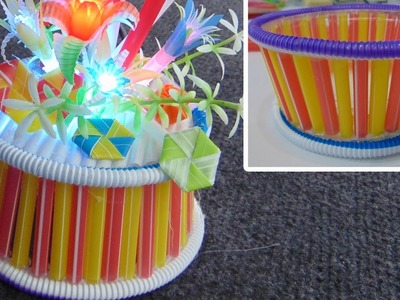 How to make flower pots from drinking straw