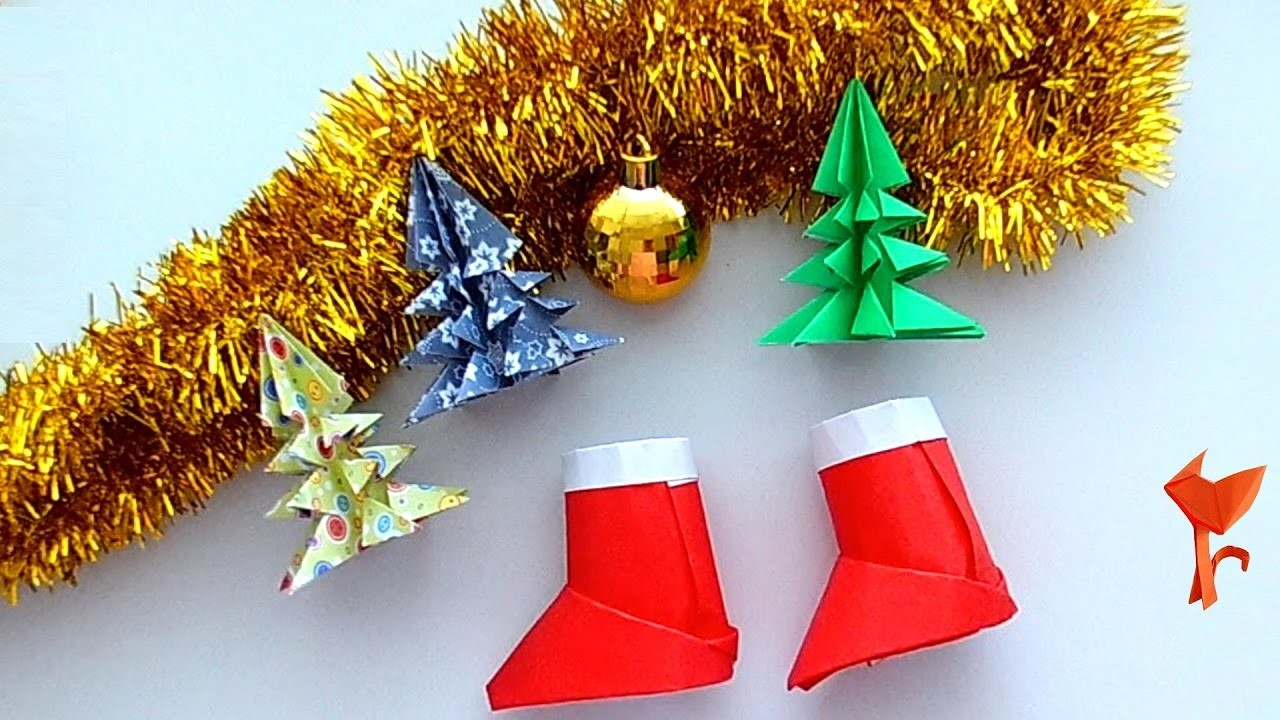 How to make Santa Claus Boots Paper - Origami for Beginners easy - Christmas Diy