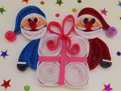 Quilling | How to make quilling Santa -merry christmas  Gift greeting card