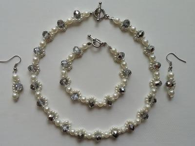 Beginners jewelry  tutorial. How to make an elegant jewelry set: necklace, earrings, bracelet