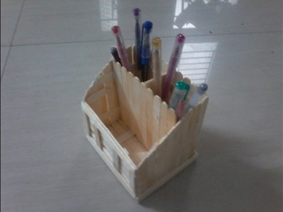 DIY: How to make pen cum mobile stand with ice cream sticks, popsicle sticks , multi purpose holder