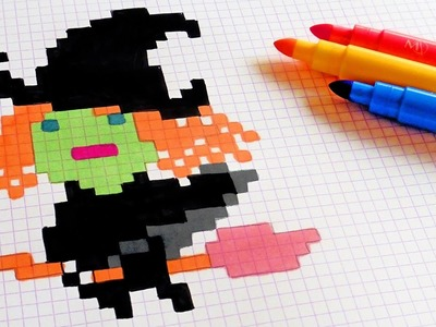 Halloween Pixel Art - How To Draw Kawaii Witch #pixelart