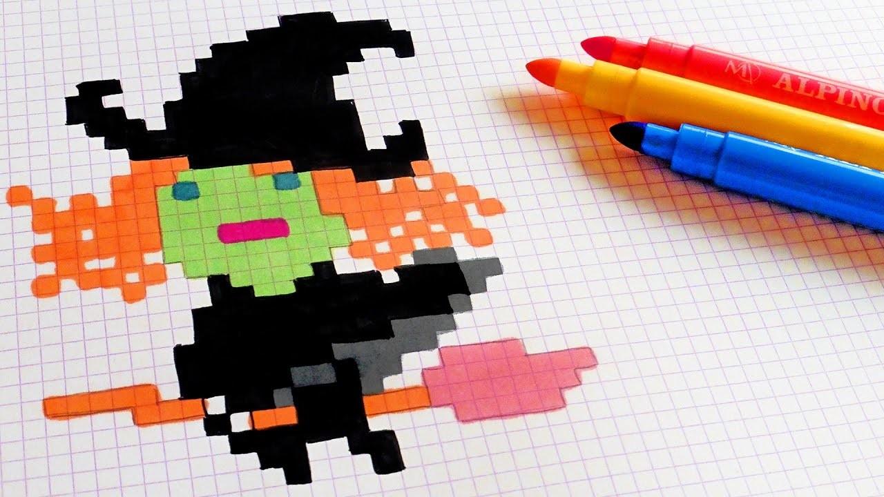 Halloween Pixel Art - How To Draw Kawaii Witch #pixelart