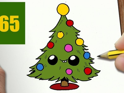HOW TO DRAW A CHRISTMAS TREE CUTE, Easy step by step drawing lessons for kids