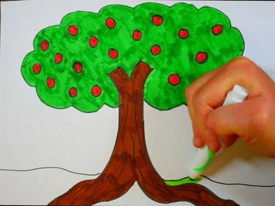 How To Draw An Apple Tree | Kids Coloring Page