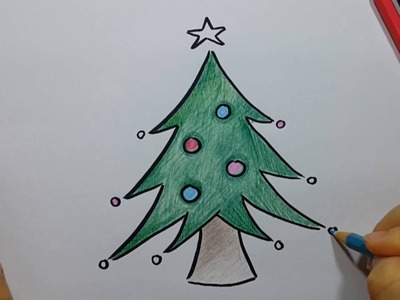How to Draw  Christmas tree - Easy and Fun!!