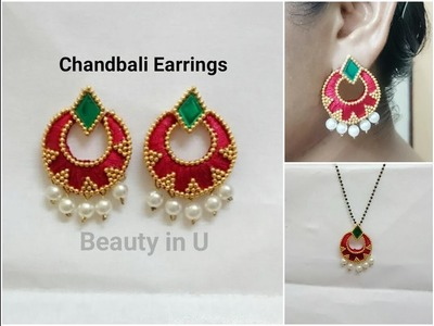 How to make Chandbali Sik Thread Earrings at Home | Tutorial
