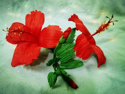 How To Make Hibiscus Flower From Crepe Paper - Craft Tutorial