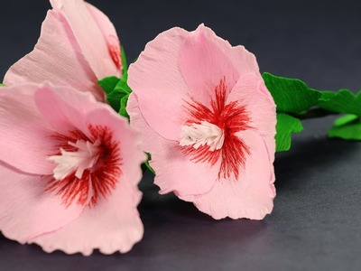 How to Make Paper Flowers Step by Step - Hollyhock Mallow Flower with Crepe Paper