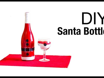 How  to make santa wine bottle christmas  decoration|santa clause wine bottle for holiday decoration