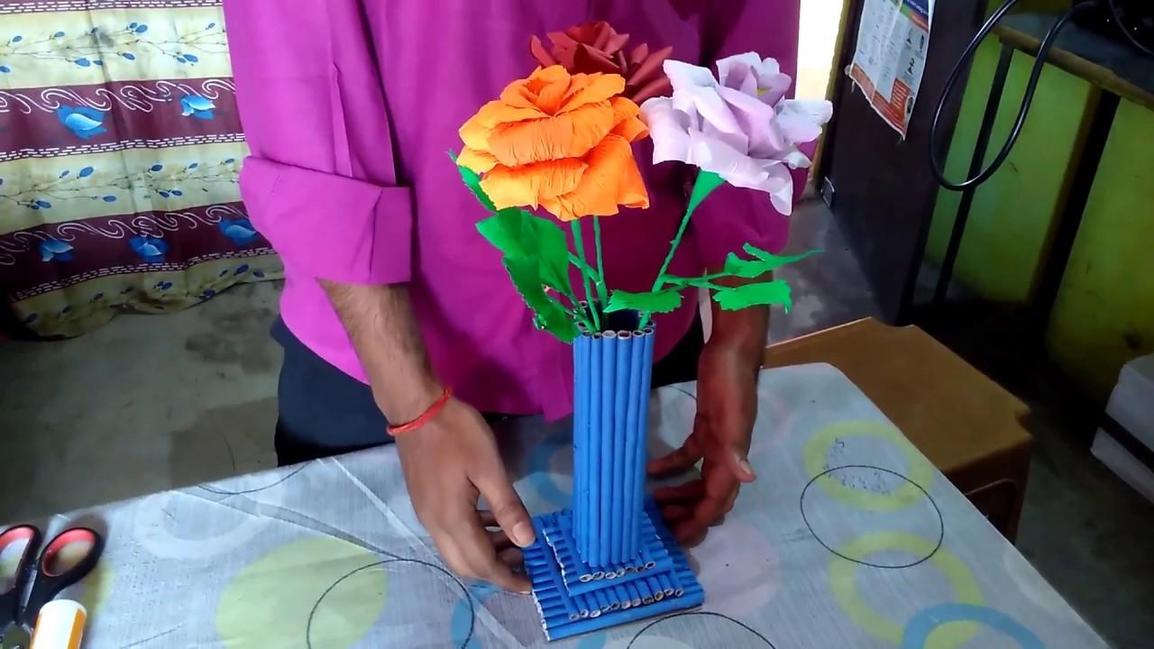 How to make waste paper flower vase| wastepaper crafts