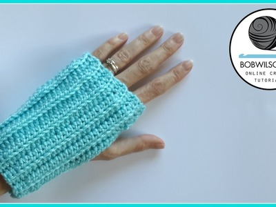 Knit look crochet fingerless gloves tutorial