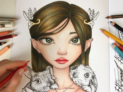 Bunny Keeper - Part 2 | HOW I COLOR EYES & LIPS | Inklings Coloring Book by Tanya Bond