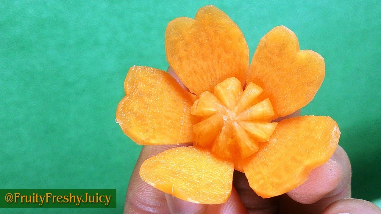 Carrot Flower Carving Garnish - How To Make Carrot Butterfly Petals Shape