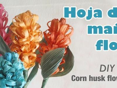 Como hacer flor con hoja de maíz 63.How to make a corn husk flowers