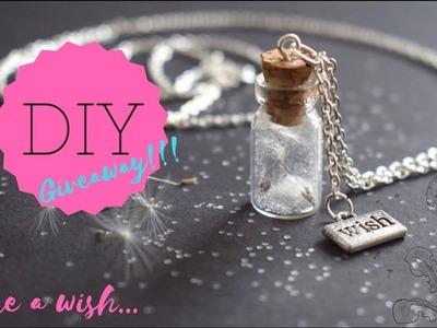 DIY - How To Make Dandelion Wish Bottle Charm Neklace - GIVEAWAY!!