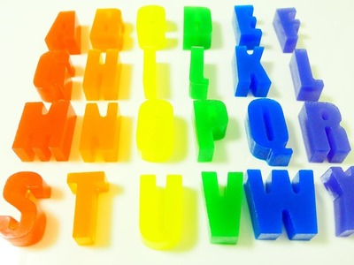DIY How to make rainbow gummy alphabet Color Jelly Gummy Pudding Learn Colors