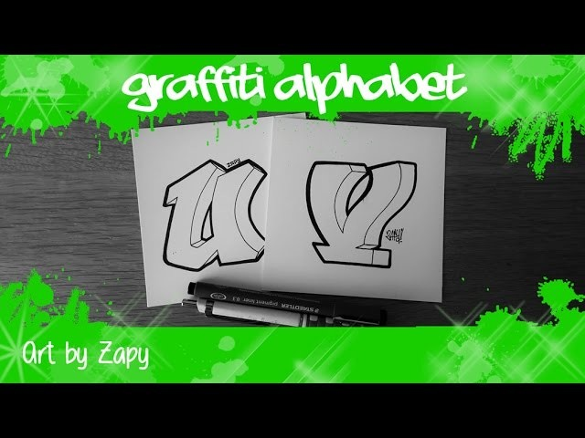 GRAFFITI ALPHABET for beginners How to draw letters (U & V