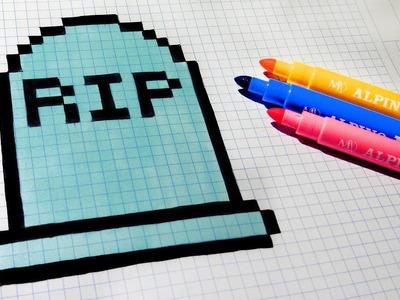 Halloween Pixel Art - How To Draw a Tomb #pixelart