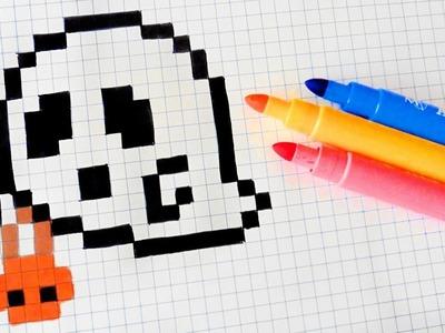 Halloween Pixel Art - How To Draw Halloween Ghost #pixelart