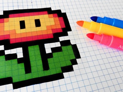 Handmade Pixel Art - How To Draw Fire Flower #pixelart