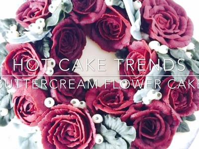 HOT CAKE TRENDS 2016! Buttercream Red Roses Flower Wreath cake - How to make by Olga Zaytseva