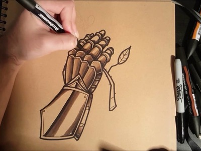 How to Draw a Knights Gauntlet Tattoo Style Tutorial speedpainting