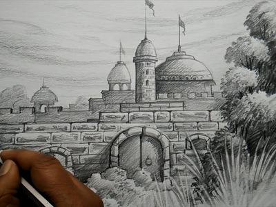 How to Draw FORT with PENCIL | Pencil Shading.