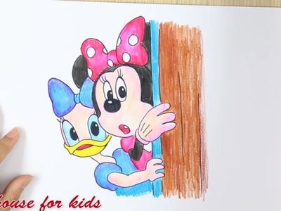 How to draw Minnie Mouse & Daisy Duck  - Coloring For Kids with Crayons | Mickey Mouse Clubhouse