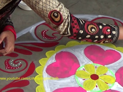 How to Easily Draw colourful Alpona Design on Floor. Rangoli Designs