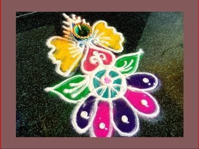 How To Make ColourfulRangoli Design.Beautiful Kolam.Colourful Muggulu by Hemlata's Rangoli