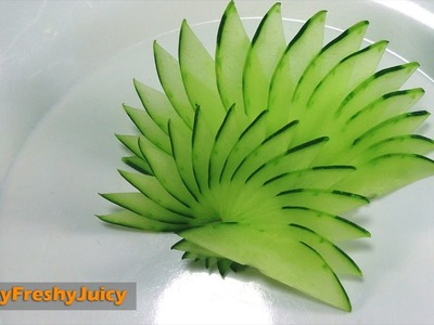 How To Make Cucumber Peacock Feathers - Art In Cucumber Carving & Cutting Garnish