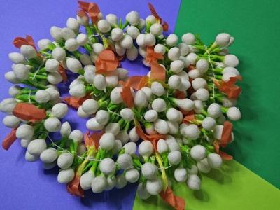 How to make jasmine garland using cotton