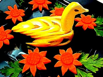 HOW TO MAKE LEMON BIRD - LEMON CARVING & FRUIT GARNISH - VEGETABLE DESIGN
