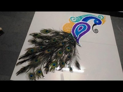 How To Make Peacock Feather Beautiful Rangoli By Latest Rangoli