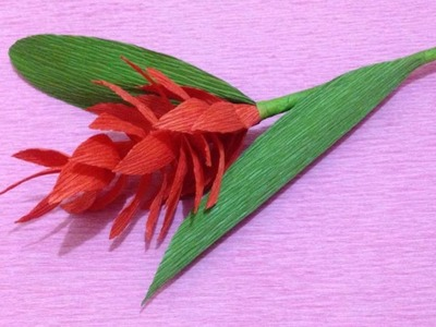 How to Make Red Ginger Crepe Paper flowers - Flower Making of Crepe Paper - Paper Flower Tutorial