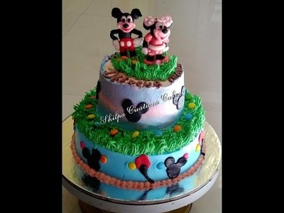 How to make two tire Eggless Cake Mickey and mini mouse Cake