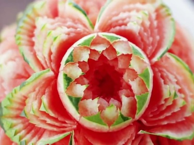 How To Make Watermelon Rose Flower - Skin Carving