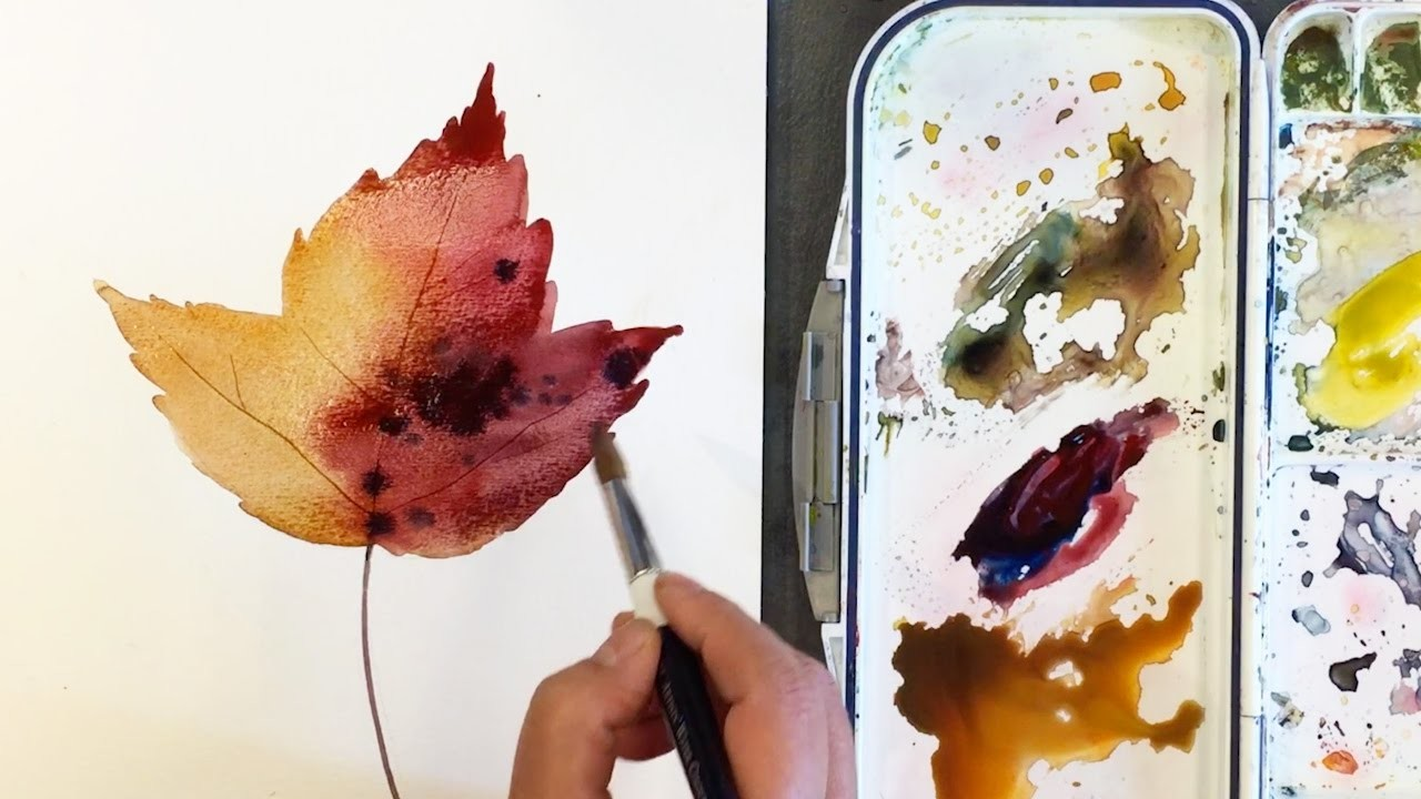 How to Paint a Autumn Leaf Wet-in-Wet in Watercolor-final