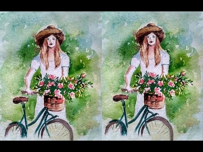 How to Paint Bicycle Basket Flowers with Lady |Paint with david |