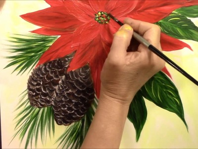 How to paint easy Poinsettia and Pine Cones ~ Acrylic ~ Painting with Wendy