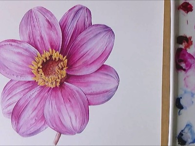 How to Paint the Centre of a Dahlia Flower | Sketchbook Squirrel