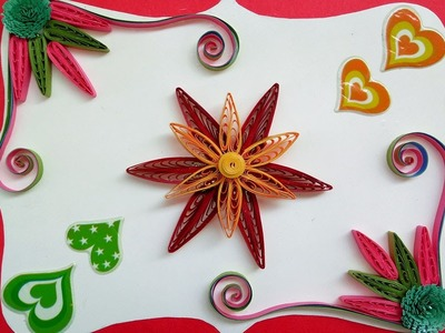 Quilling How to make cascading loops flower using a quilling comb for Quilling Greeting card designs