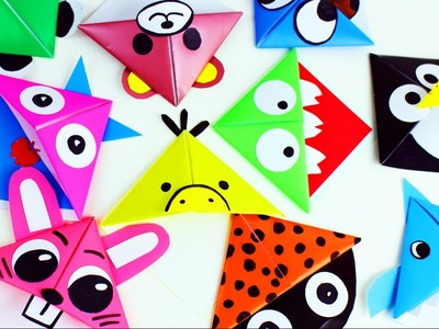10 Easy Animal Origami Paper Corner Bookmarks - Easy Paper Crafts - 5 minutes craft