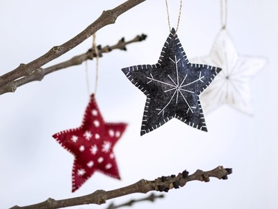 DIY: Embroidery on Christmas stars by Søstrene Grene