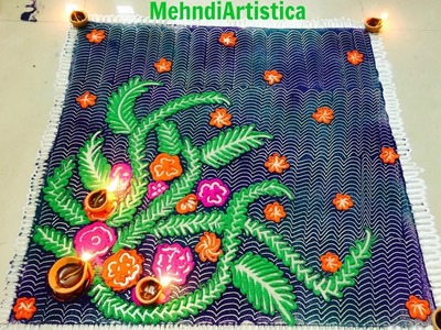 Easy Beautiful Rangoli designs|DIY Rangoli(Alpana)Fast Colorful Ideas For Diwali Decoration