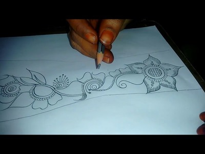 how to draw henna on paper